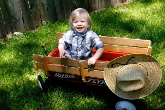 A boy in his wagon